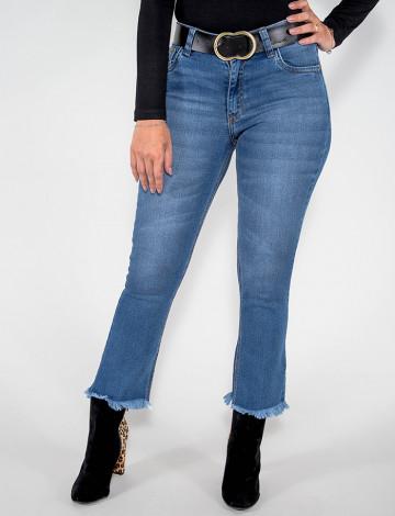 Calça Jeans Atacado Cropped Feminina Revanche Montevideu Azul Frente