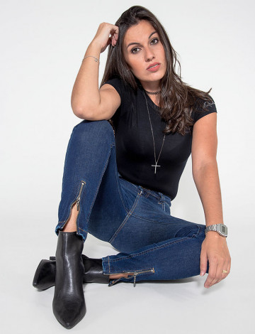 Calça Jeans Atacado Cropped Feminina Revanche Seri Azul Look