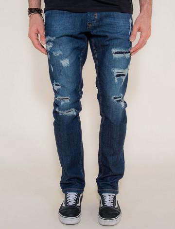 Calça Jeans Atacado Destroyed Escura Masculino Revanche Foggia Frente