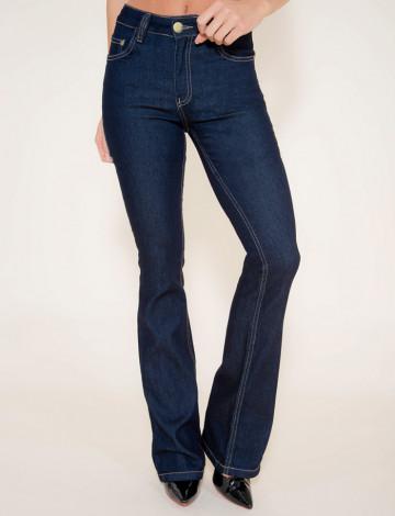 Calça Jeans Atacado Flare Escura Feminina Revanche Laundé Azul Frente