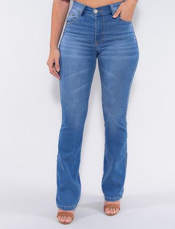 Calça Jeans Atacado Flare Feminina Revanche Fanchone Azul Frente