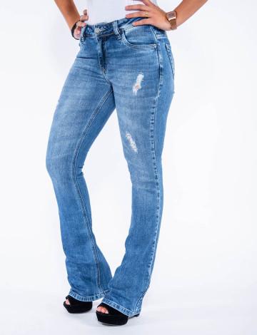 Calça Jeans Atacado Flare Feminina Revanche Los Angeles Azul Frente