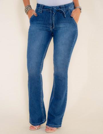 Calça Jeans Atacado Flare Laço Feminina Revanche Bissau Azul Frente