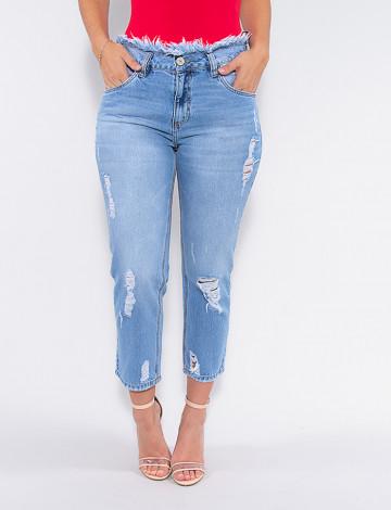 Calça Jeans Atacado Mom Cropped Feminina Revanche Lavernia Azul Frente