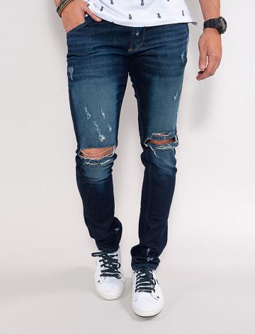 Calça Jeans Atacado Reta Destroyed Masculina Revanche New York Azul Frente