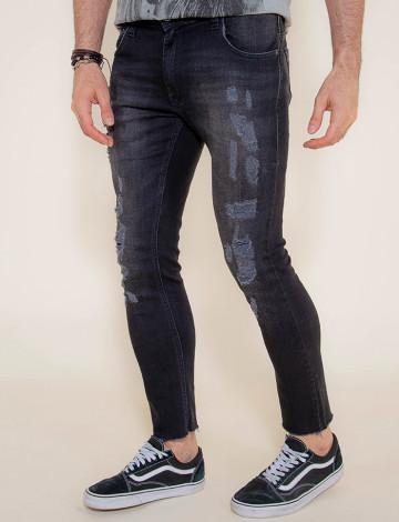 Calça Jeans Atacado Super Skinny Black Masculina Revanche Bandar Preta Frente