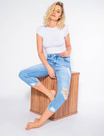 Calça Mom Jeans Atacado Cropped Feminina Revanche Noyon Frente