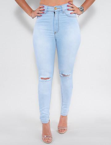 Calças Jeans Atacado Cigarrete Feminina Revanche França Azul Frente