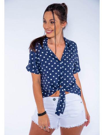 Camisa Atacado Bolinha c/ Amarração Feminina Revanche Colorado Azul Marinho Frente