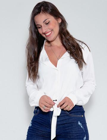 Camisa Atacado Com Nó Feminina Revanche Verrill Branco Frente