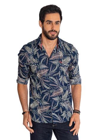 Camisa Atacado Floral Masculina Revanche Havai Azul Petroleo Frente