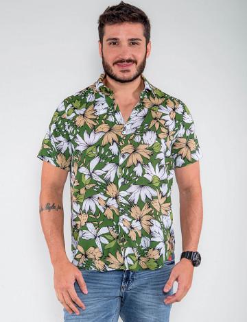 Camisa Atacado Florida Manga Curta Masculina Revanche Botsuana Verde Frente