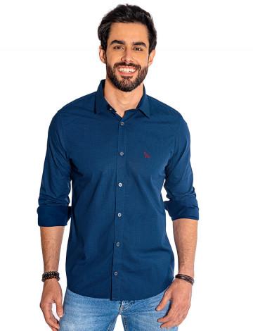 Camisa Atacado Manga Longa com Micro Estampa Masculino Revanche Bolonha Azul Escuro Frente