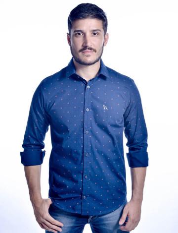 Camisa Atacado Manga Longa com Micro Estampas Masculino Revanche Bréscia 2 Azul Frente