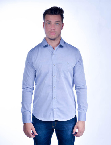 Camisa Atacado Manga Longa com Micro Estampas Masculino Revanche Lima Azul Claro Frente