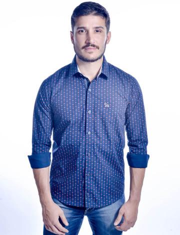Camisa Atacado Manga Longa de Micro Estampas Masculino Revanche Monza 2 Azul Marinho Frente