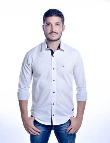 Camisa Atacado Manga Longa de Micro Estampas Masculino Revanche Monza Branca Frente