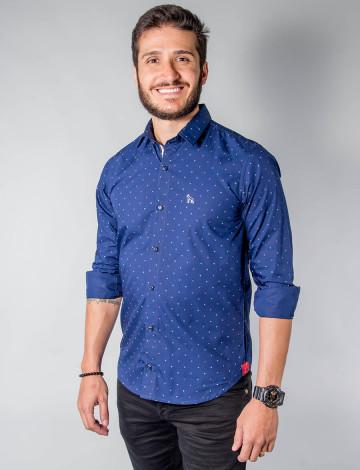 Camisa Atacado Micro Estampas Manga Longa Cadarço na Vista Masculino Revanche Pescara Azul Padrão Frente