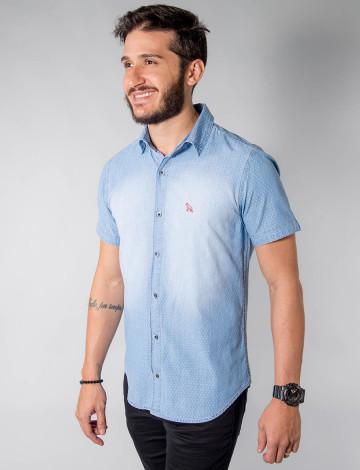 Camisa Jeans Atacado Manga Curta Microestampado Masculino Revanche San Diego Frente