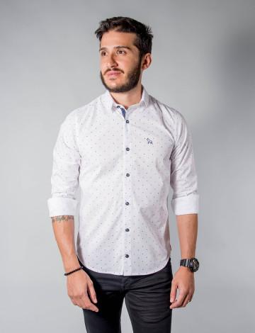 Camisa Atacado Micro Estampas Manga Longa Cadarço na Vista Masculino Revanche Pescara Branco Padrão Frente