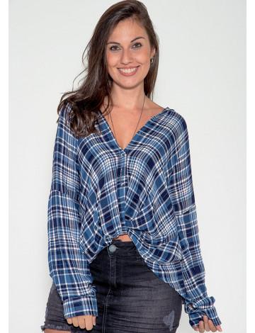 Camisa Atacado Xadrez Feminina Revanche Kansas Azul Frente