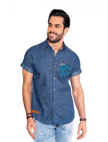 Camisa Jeans Atacado Bolso Estampado Masculina Revanche Cahors Azul Frente