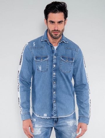 Camisa Jeans Atacado Faixa Masculina Revanche Islândia Azul Frente