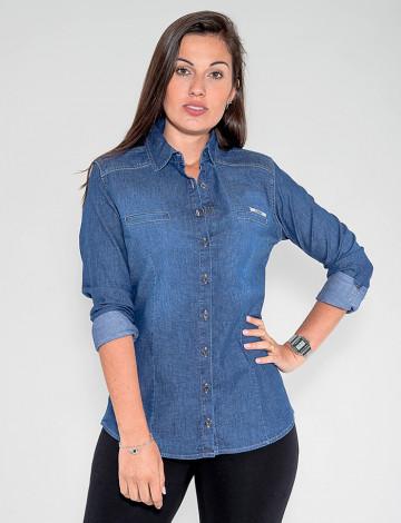 Camisa Jeans Atacado Feminina Revanche Aústria Azul Frente