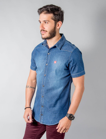 Camisa Jeans Atacado Manga Curta Bordado Masculino Revanche Miami Frente