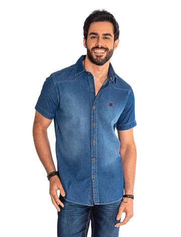 7c08d4dee4 Camisa Jeans Atacado Manga Curta Bordado Masculino Revanche Miami II ...