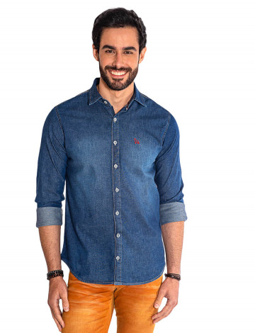 6a1277ad08 Camisa Jeans Escura Manga Longa Masculina Revanche Maseru Frente