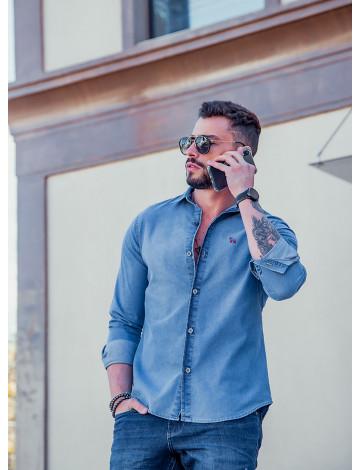 Camisa Jeans Manga Longa Atacado Masculina Revanche Irã Azul Frente