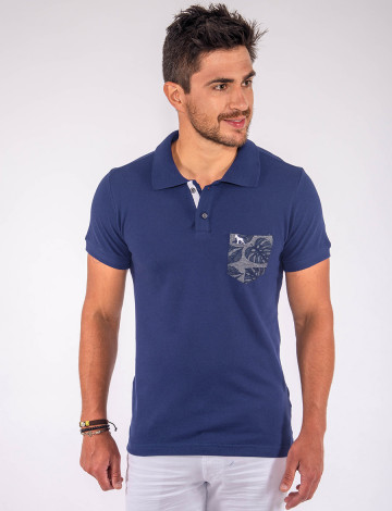 Camisa Polo Atacado Bolso Estampado Masculina Revanche Dodoma Azul Marinho Frente