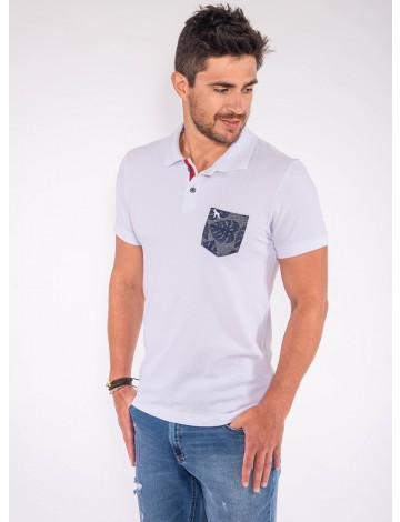 Camisa Polo Atacado Bolso Estampado Masculina Revanche Dodoma Branco Frente