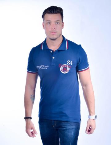 Camisa Polo Atacado com Bordado Masculino Revanche Peru Azul Marinho Frente