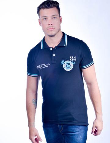 3a06431b0 Mais Visões. Camisa Polo Atacado com Bordado Masculino Revanche Peru Azul  Marinho Frente ...