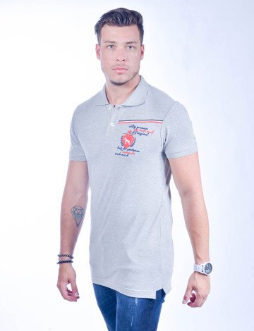 Camisa Polo Atacado com Bordado Masculino Revanche Portugal Mescla Frente