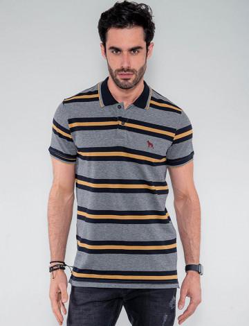 Camisa Polo Atacado Listras Mostarda Masculina Revanche Paquistão Mescla Frente