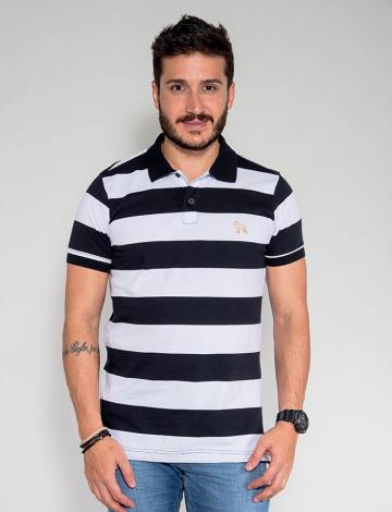 Camisa Polo Atacado Listras Masculino Revanche Grécia Branco Preto Frente