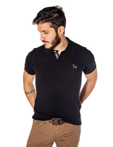 Camisa Polo Atacado Masculina Bordado Dog Revanche Nantes Preto Frente Config