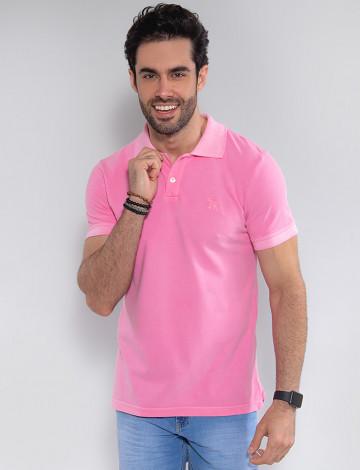 Camisa Polo Atacado Masculino Revanche Compenhag Rosa Frente
