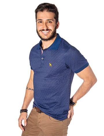 Camisa Polo Atacado Microestampa Masculina Revanche Boston Azul Marinho Frente