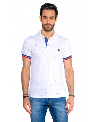 Camisa Polo Atacado Microestampa Masculina Revanche Triangulo Branco Frente