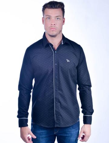Camisa Social Atacado Manga Longa com Micro Estampa Masculino Revanche Bérgamo Preta Frente