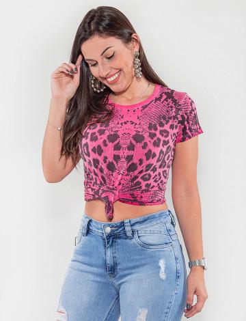Camiseta Atacado Animal Print Feminina Revanche Cuala Rosa Frente