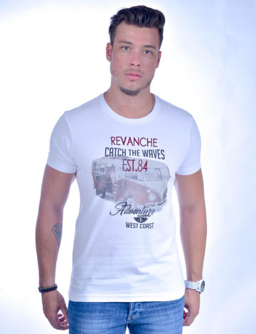 Camiseta Atacado Bordada Masculino Revanche Catch The Waves Branca Frente
