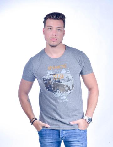 Camiseta Atacado Bordada Masculino Revanche Catch The Waves Cinza Frente