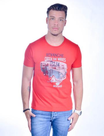 Camiseta Atacado Bordada Masculino Revanche Catch The Waves Vermelha Frente