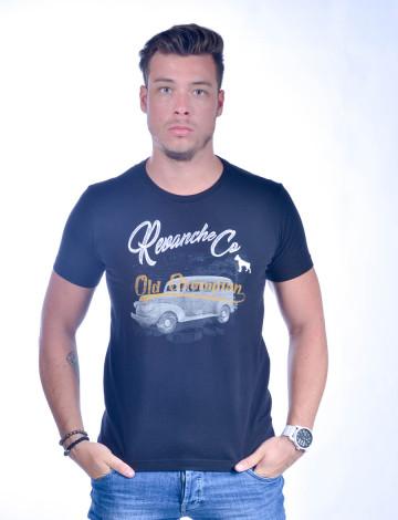 Camiseta Atacado Bordado com Estampa Masculino Revanche Old Champion Preta Frente