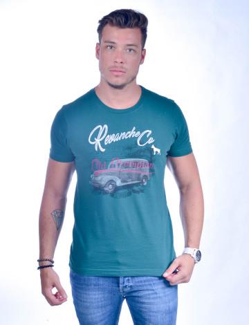 Camiseta Atacado Bordado com Estampa Masculino Revanche Old Champion Verde Frente